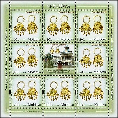 Moldova stamps! Earrings, Treasure of National Museum, MNH, 2017, 8v