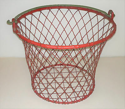 Vintage/Retro Plastic-Coated Wire Mesh Wastepaper Basket Red & Green Shabby Chic