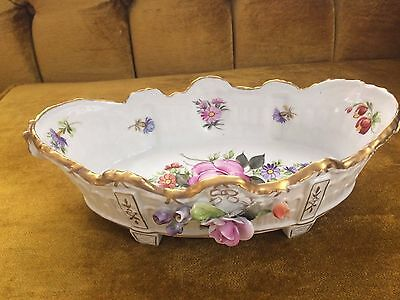 Hand Painted German porcelain Floral candy Dish on 4 Legs