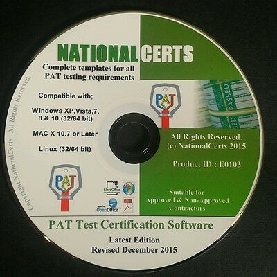 PAT TEST CERTIFICATES/FORMS SOFTWARE CD-ROM PAT TESTING 2016 Genuine Product