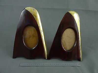 Pair of Antique Brass Bound Aeroplane Propeller Photo Frames  Trench Art