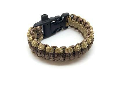 ParaCord Wristband Outdoor Camping Survival Strap Bracelet Brown Tan
