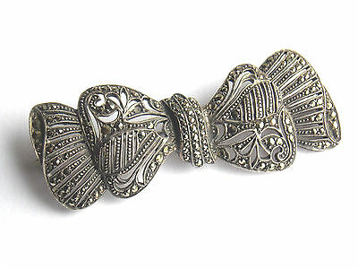 1920s Art Deco high quality silver marcasite bow brooch marked 925 silver