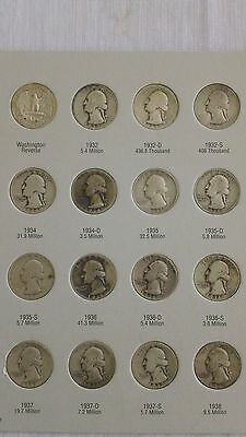 1932-1964 Washington quarters, complete 83 coin set with 1932 D and S