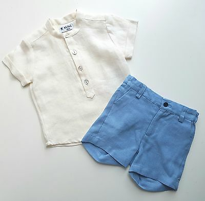 Beautiful Spanish Boys Linen Shorts and shirt outfit. New. 2, 3, 4 years