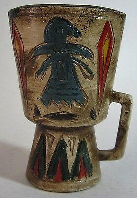 Vtg Route 66 Souvenir Native American Indian Mug Covered Wagon Albuqueque NM