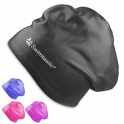 Swimtastic - Long Hair, Tear Resistant Swim Cap - Built for Swimmers with Long,