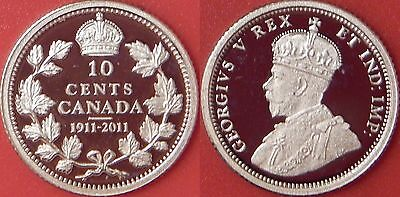 Proof 1911-2011 Canada Silver 10 Cents From Mint's Set