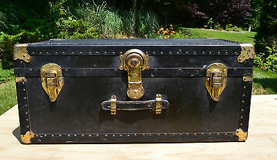 Antique Black Trunk with Brass Trimmings