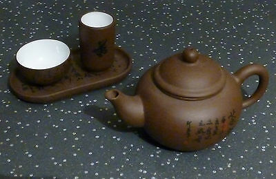 Yixing clay miniature teaset teapot with cup jug tray