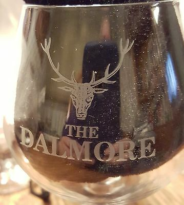 Set of Four Etched DALMORE Logo SCOTCH Whiskey STEMMED GLASS - SNIFTER-WOW!!!!!