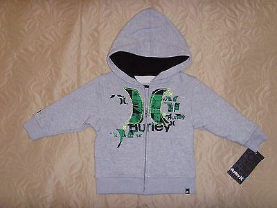 NEW HURLEY Toddler Boys HOODIE Full-Zip Gray with Green LOGO Size 12 M