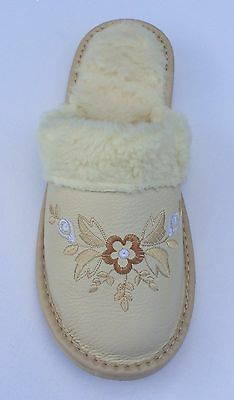 Ladies Womens  Soft Sheep Leather Slippers Shoes Sandal Fur Beige Handmade