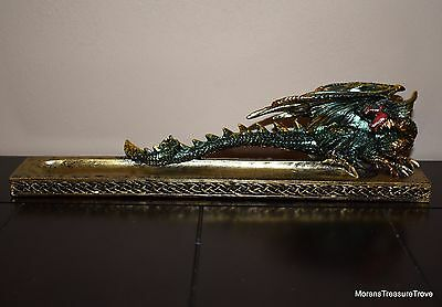 "Green Crouched Roaring Dragon with Metallic Gold Accents 10"" Incense Burner"