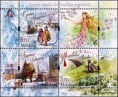 Moldova stamps! New Year, Traditional Folk Months, MNH, 2017, 3v
