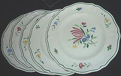 "Set FIVE 10 1/8"" Dinner Plate in Tulip Longchamp France China"