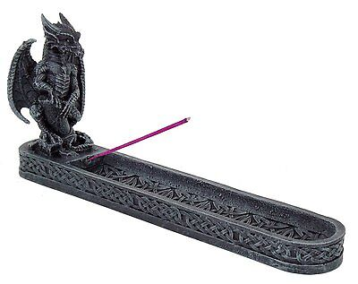 "Dark Gray Grey Dragon Gargoyle Perched on Log 10"" Resin Incense Burner #9393"