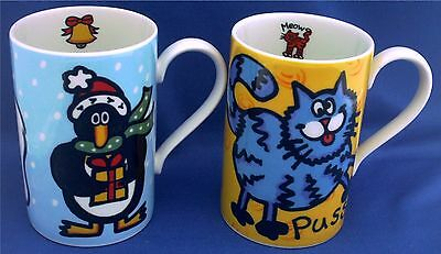 Pair Of Dunoon Fun Mugs. Penguin, Bear And Cats. Designed By Jane Brookshaw
