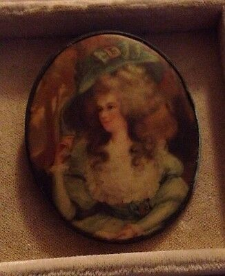 Vintage Victorian Lady Portrait Style Brooch With C Clasp Beautiful Photo