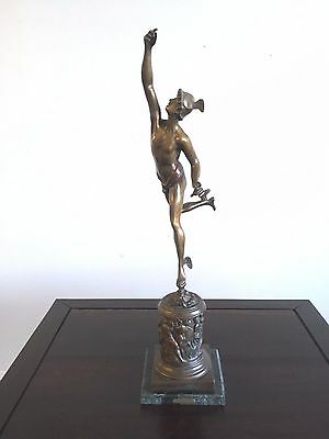 Circa 1900 Patinated Bronze Mercury Statue on Base in style of Jean de Boulogne