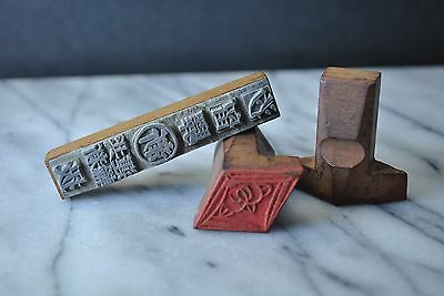 3 Amazing Antique Vintage Chinese / Japanese Wood Chops Stamps Seals Calligraphy