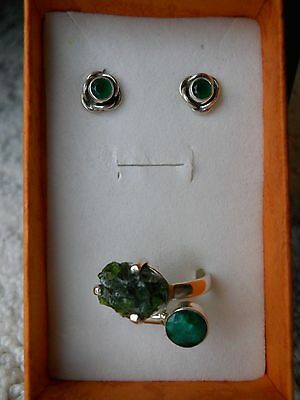 Sterling Silver Emerald Earrings And Ring - New!