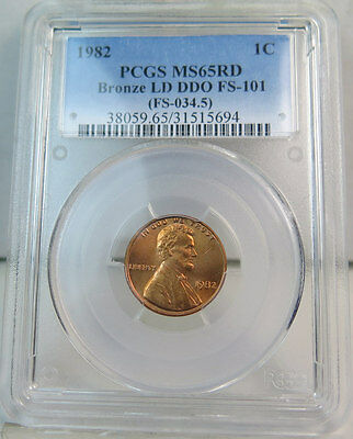 1982 Lincoln cent PCGS MS65RED *FS 101 DDO bronze* BR