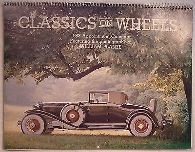 CLASSICS ON WHEELS 1983 Appointment Calendar - Photography of WILLIAM PLANTE