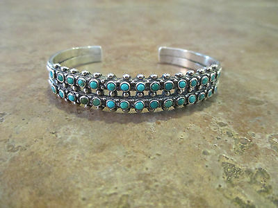 Comparatively Rare Fred Harvey ZUNI Sterling SNAKE EYE Turquoise ROW Bracelet