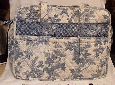 Vera Bradley Vintage Blue Toile Quilted Baby Diaper Bag Large Laptop Beach Tote