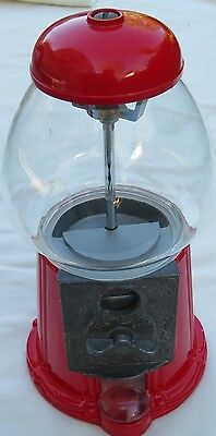 Vintage 1985 Red Carousel Bubble Gum Candy Machine Cast Metal Glass Globe 12inch