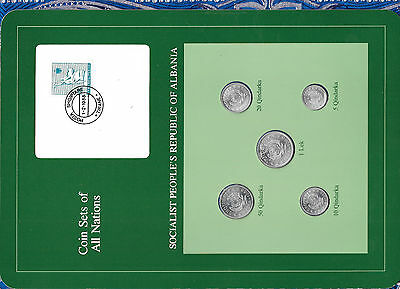 Coin Sets of All Nations Albania wcard UNC 1 lek 50,20,10,5 Qindarka 1969 1.2.88