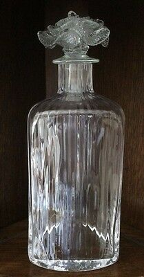 """Beautiful Glass Decanter with Flower Stopper 10 1/2"""""""