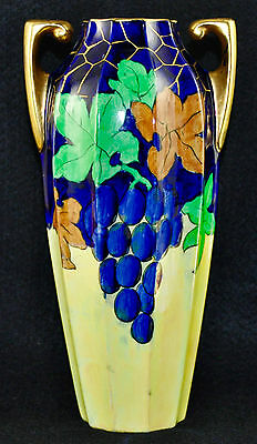 Antique Art Nouveau Amphora Handle Iridescent CRANSTON Pottery Vase Grape Leaf