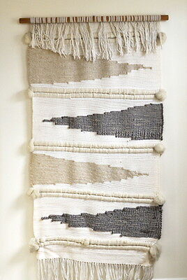 HUGE Vintage Mid Century Abstract Handwoven Wall Hanging Tapestry Weaving Art