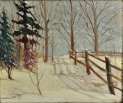 Original Oil Painting Antique Early 20th Century Winter Landscape Framed Art Old
