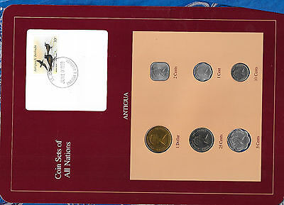 Coin Sets of All Nations Antigua E.C. 1981-1989 UNC $1 1981 25, 5 cents 1989