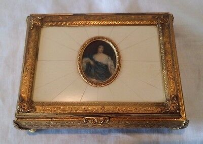 Vintage Swiss Reuge Brass Musical Box With Medallion Of A Lady