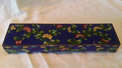 Antique Chinese Blue & Green Cloisonne Hinged Desk Box with Floral Motif