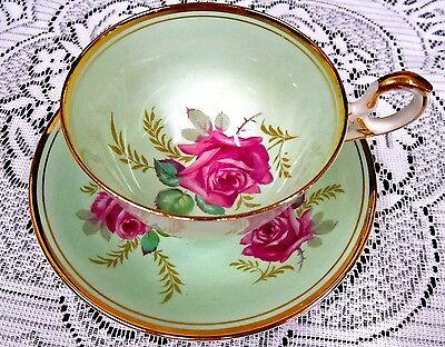 Old Royal Tea Cup And Saucer Lime Green & Pink Rose Pattern Teacup