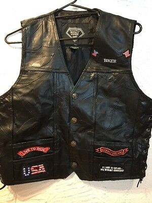 New Without Tags Designer Diamond Plate Buffalo Leather Biker Motorcycle Vest