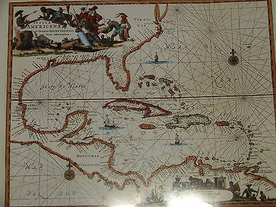 Reproduction Antique Caribbean Map John Ogilby