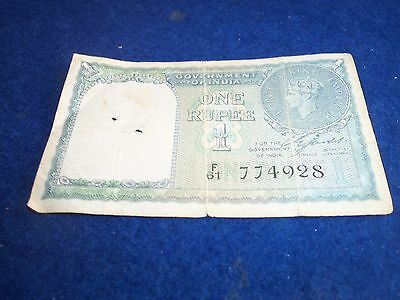 GOVERNMENT OF INDIA ONE RUPEE NOTE 1940 SERIAL No F 61 774928 FAIR CONDITION
