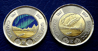 2017 Canada Two (2) Toonies - GLOW IN THE DARK 2$ Coloured + 2$ Anniversary -UNC
