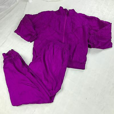 Vtg 80s Purple BOCOO Windbreaker Quilted TRACK SUIT Hip Hop Jacket Pants Set MED