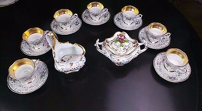 Antique Elegant Kpm Creamer Sugar & 7 Gold & Floral Coffee Tea Cups