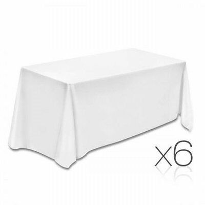 NEW 6x 244cm Wedding Home Party Polyester Table Cloth Rectangle 200gs/m - White