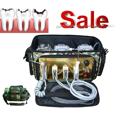 2017 Portable Dental Unit with Air Compressor Suction System 3 Way Syringe USA