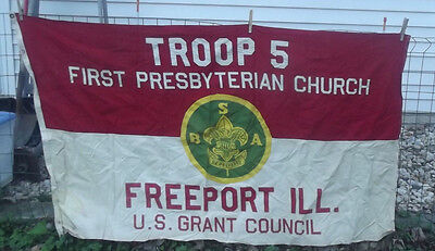 Vintage 5' X 3' Boy Scouts Of America Flag U.s. Grant Council Freeport Ill