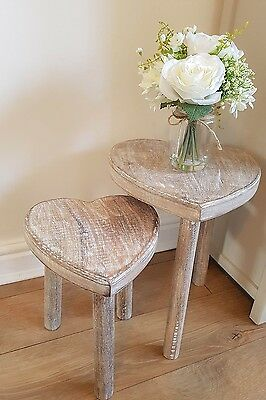 Shabby Chic Heart Stool / Mini Table Set